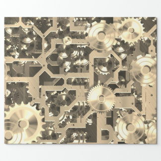 Clockworks Sepia Nostalgic Wrapping Paper
