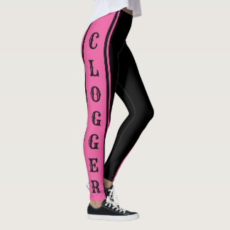 Clogger Pink and Black Clogging Clog Dancers Cute Leggings