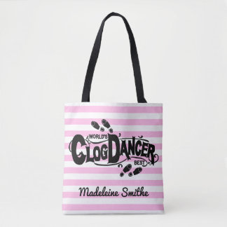 Clogging Clog Dancer Pink Vintage Look | Add Name Tote Bag