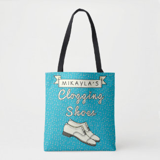 Clogging Shoes Blue Cloggers | Personalized Name Tote Bag