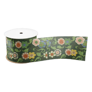 Cloisonne Chinese Green Floral Satin Ribbon