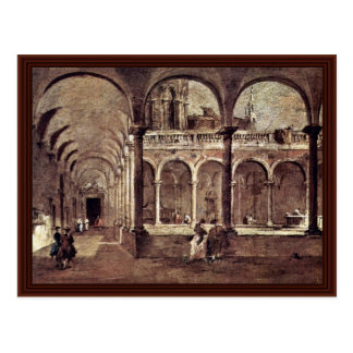 Cloister In Venice, By Guardi Francesco Postcard
