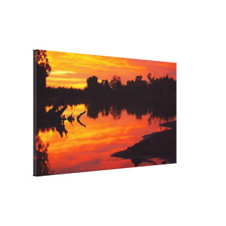 Cloncurry River sunrise reflections canvas print