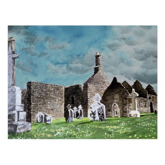 Clonmacnoise Ireland Landscape Watercolor Painting Postcard