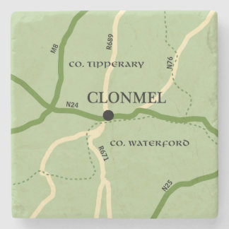 Clonmel County Tipperary Ireland Road Map Stone Coaster