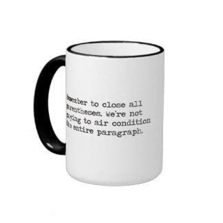 Close all Parentheses Ringer Mug