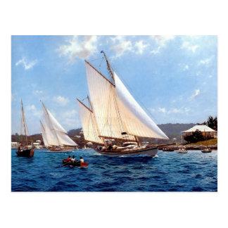 Close hauled through an anchorage postcard