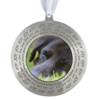 Close Up Black old dogs face with selective focus Round Pewter Ornament