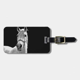 Close-up Black White Horse in Night Bag Tag