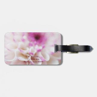 Close up dahlia luggage tag