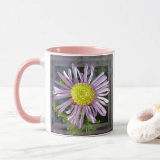 Close Up Lilac Aster With Bright Yellow Centre Mug