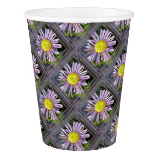 Close Up Lilac Aster With Bright Yellow Centre Paper Cup