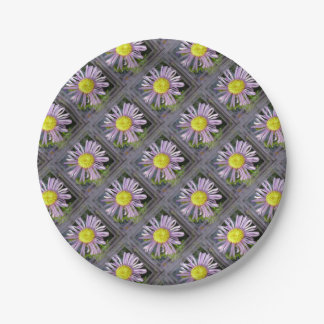 Close Up Lilac Aster With Bright Yellow Centre Paper Plate