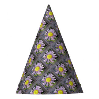 Close Up Lilac Aster With Bright Yellow Centre Party Hat