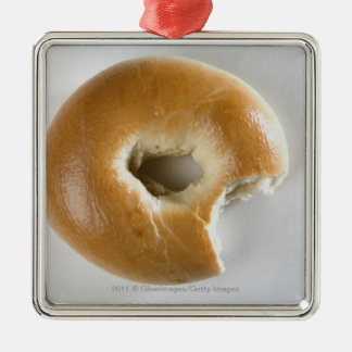 Close-up of a bagel Silver-Colored square ornament