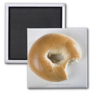 Close-up of a bagel square magnet