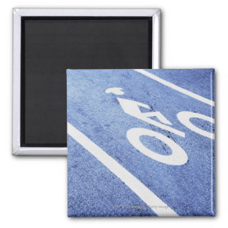 Close-up of a bicycle sign on the road magnet
