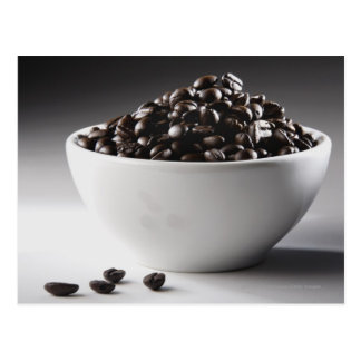 Close-up of a bowl full of coffee beans postcard