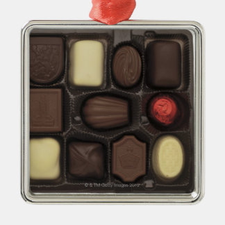 close-up of a box of assorted chocolates Silver-Colored square ornament