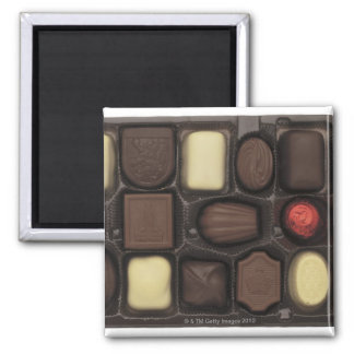 close-up of a box of assorted chocolates square magnet