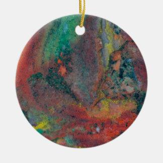 Close up of a Christmas Jasper Round Ceramic Ornament