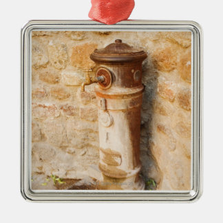 Close-up of a faucet, Siena Province, Tuscany, Silver-Colored Square Ornament