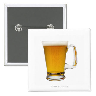 Close up of a glass of beer 2 2 inch square button