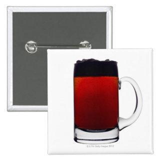 Close up of a glass of beer 2 inch square button