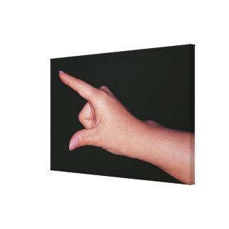 Close-up of a hand with finger and thumb canvas print