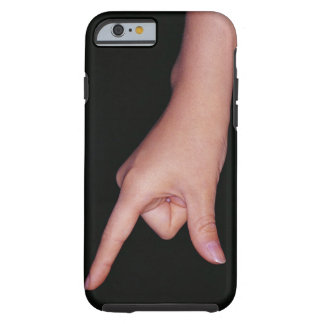 Close-up of a hand with finger and thumb tough iPhone 6 case
