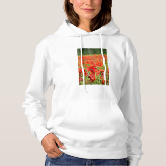 Close-up of a Poppy field, France Hoodie