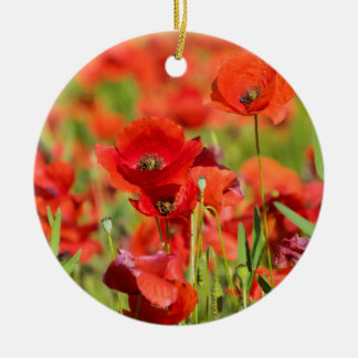 Close-up of a Poppy field, France Round Ceramic Ornament