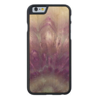 Close up of a purple Amethyst Carved® Maple iPhone 6 Slim Case