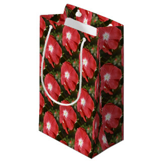 Close Up Of A Red Busy Lizzie Flower Small Gift Bag