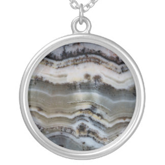 Close up of a Silver Lace Onyx Silver Plated Necklace