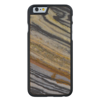 Close up of a Striated Jasper Slab Carved Maple iPhone 6 Case