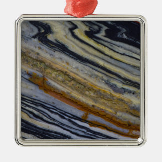 Close up of a Striated Jasper Slab Silver-Colored Square Ornament