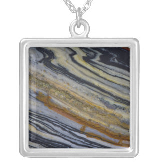 Close up of a Striated Jasper Slab Silver Plated Necklace
