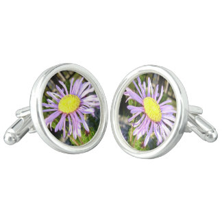 Close Up of A Violet Aster Flower Spring Bloom Cuff Links