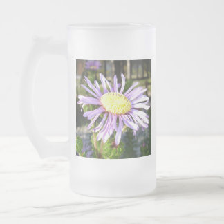 Close Up of A Violet Aster Flower Spring Bloom Frosted Glass Beer Mug