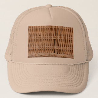close-up of a weave of a hamper on Trucker Hat