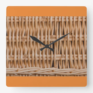 close-up of a weave of a hamper square wall clock