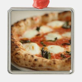 Close-up of a whole pizza pie Silver-Colored square ornament