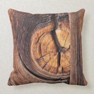 Close up of a wood knot, California Throw Pillow