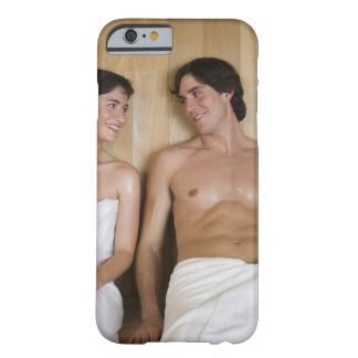 Close-up of a young couple sitting in a sauna barely there iPhone 6 case