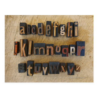 Close up of alphabet on letterpress postcard