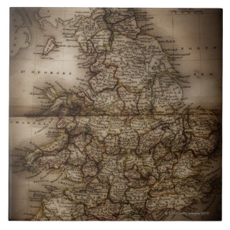 Close up of antique map of England Tile