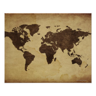 Close up of antique world map 3 poster
