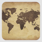 Close up of antique world map 3 square sticker