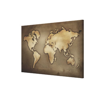 Close up of antique world map 5 canvas print